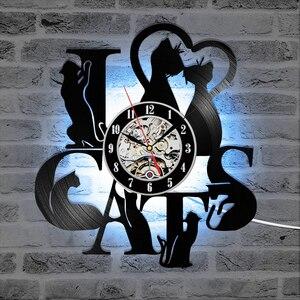 I Love Cats Record Wall Clock Vintage LED Vinyl Clock Kitten Art Silent Unique Decorative Clock 3D Hanging CD Wall Clock 7 Cats(China)