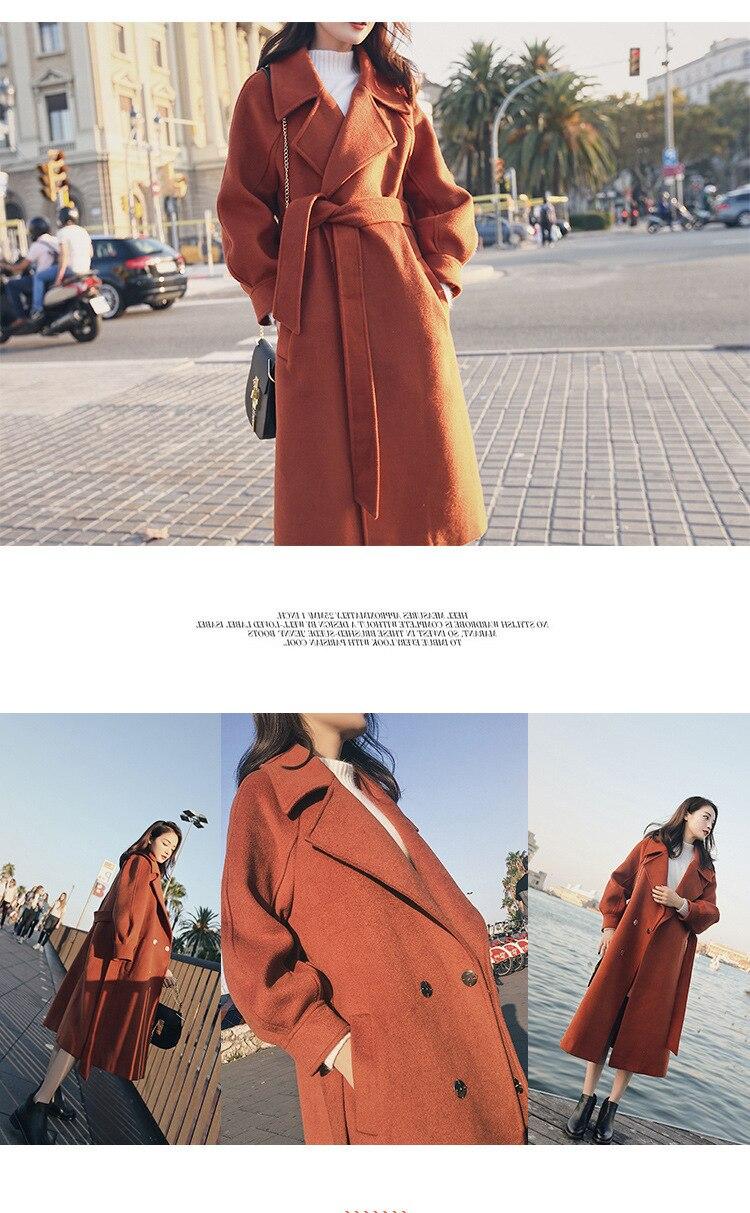 Plus Size Loose Warm Wool Blends Long Winter Coat Turn-down Collar Adjustable Belt Wool Coats Women Office Work Wear Elegant 8