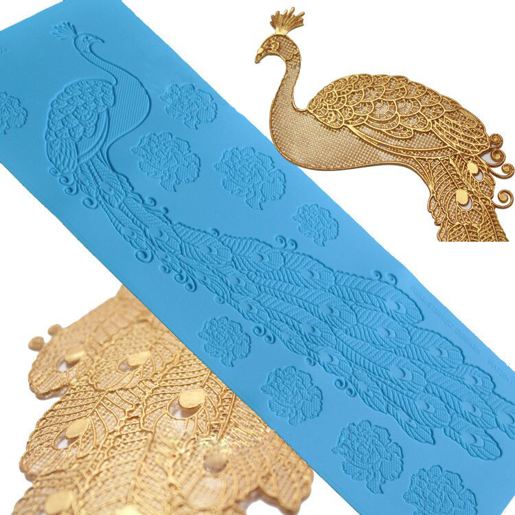 Peacock tort bəzək qəlib böyük krujeva silikon pad platinum - Mətbəx, yemək otağı və barı - Fotoqrafiya 1
