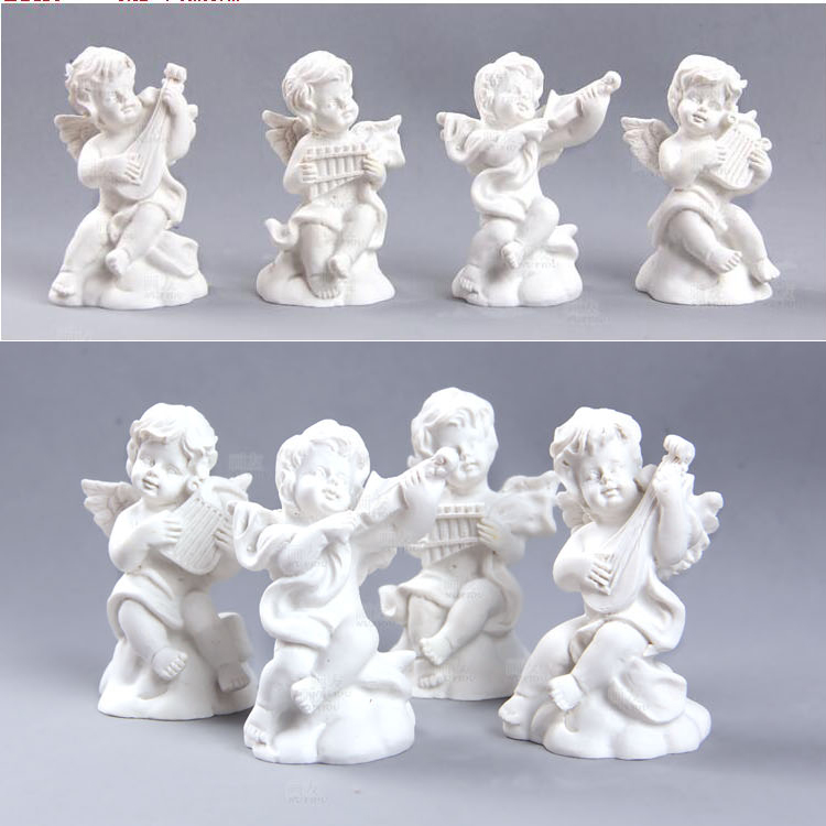 4piece/set Angel Cupid playing musical instruments3D silicone soap candle cake decorating mold decoration tools