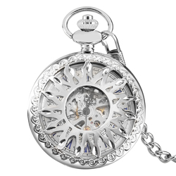 Модные автоматические механические карманные часы с самостоятельным ветром и солнцезащитным цветком