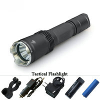 Hunting tactical flashlight led linterna xm l2 lanterna self defense flash light militar waterproof 18650 battery electric torch