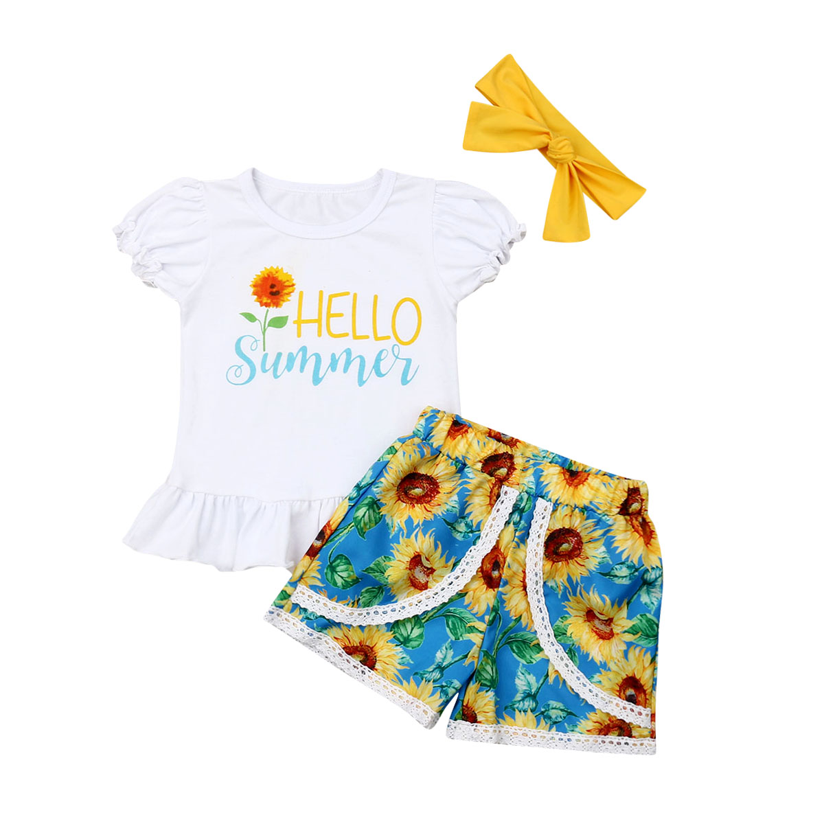 04cbcc9c2b Pudcoco 2019 Summer Baby Girl Clothes Kids Clothes Suits Sunflower Outfits  Sets T-shirt +