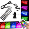 Phone Bluetooth Wireless Remote Music Voice Control Colorful 9 LED Car Interior Light RGB Neon DC12V