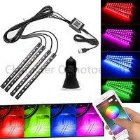 Phone Bluetooth Wireless Remote Music Voice Control Colorful 9 LED Car Interior Light RGB Neon DC12V