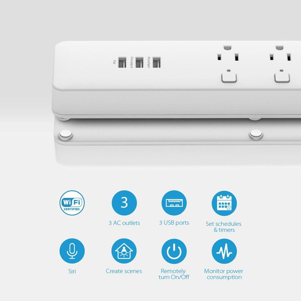 Умный дом Koogeek Wi-Fi интеллектуальный розеточный защитник индивидуально контролируемый 3 розетка силовой сектор для Apple HomeKit Alexa Google помощник (Фото 5)