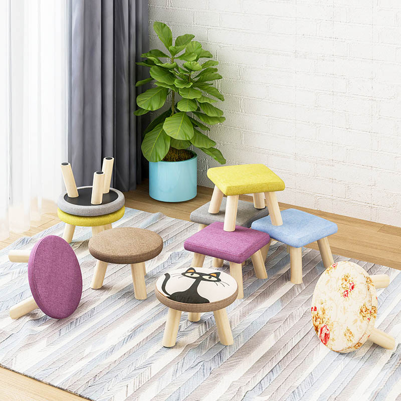 Fashion entrance mushroom stool Solid wood Household Small bench Living room fabric sofa stool Creative stool Home Furniture