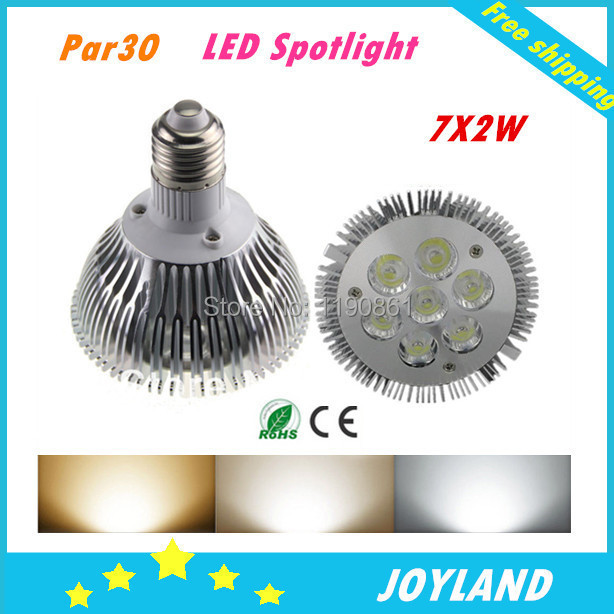 2014 Hot sell <font><b>par30</b></font> <font><b>e27</b></font> 7x2w led spotlight bulb lamp dimmable white warm white 110-220v free shipping image