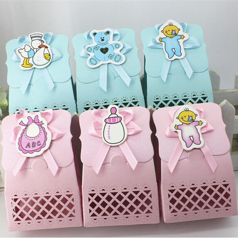 Cute Baby Shower candy <font><b>box</b></font> Event Party Supplies Decoration <font><b>boy</b></font> and girl Paper Baptism Kid Favors Gift Sweet Birthday Bag 12pcs