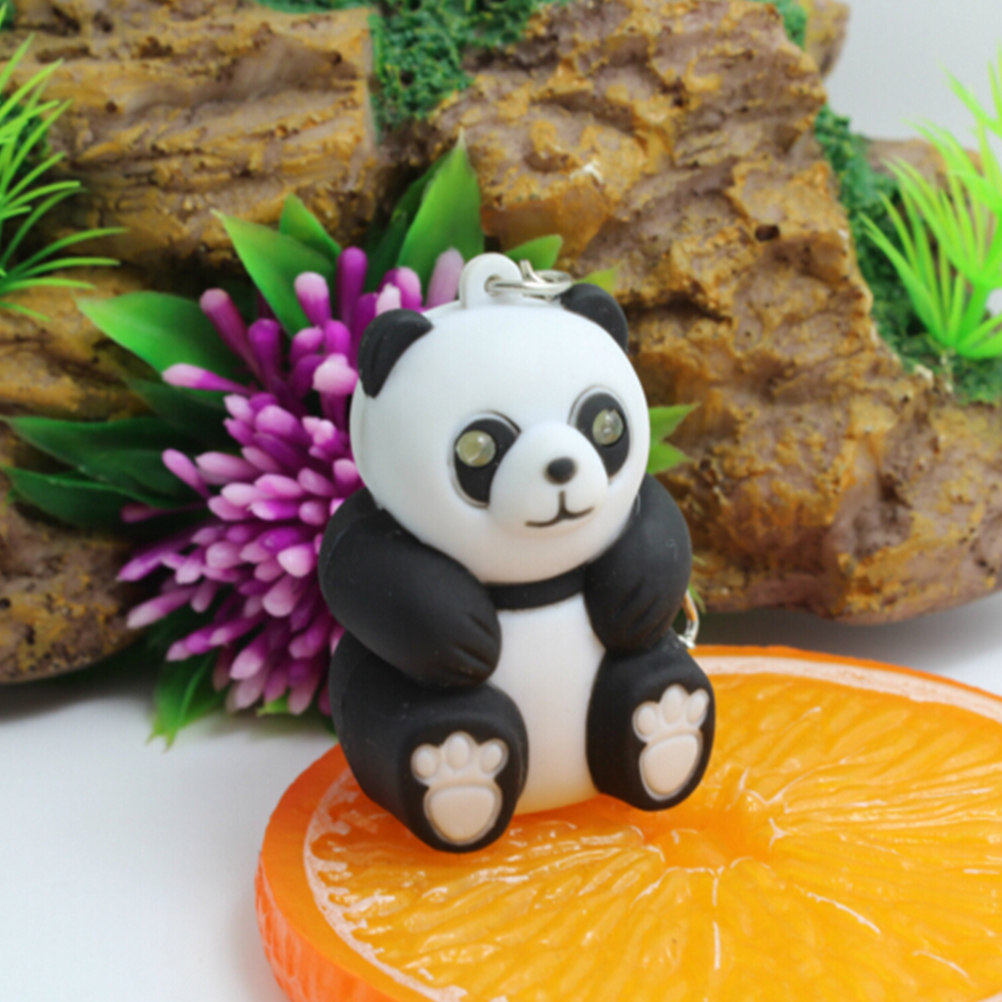 1 pc Lovely Panda keychain Toys with LED light and cute sound glowing Pendant Dolls Gift Men Women Souvenirs