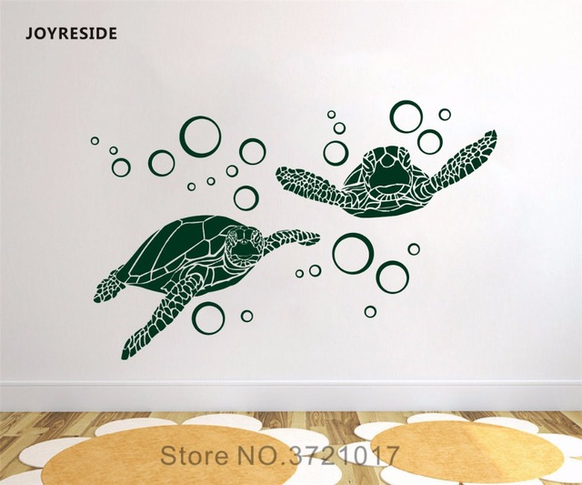 joyreside sea turtles with bubbles wall animal decal vinyl sticker