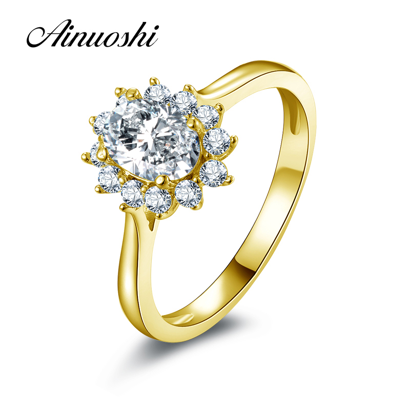 AINUOSHI 10K Solid Yellow Gold Women Wedding Ring Oval Cut Simulated Diamond Anel de ouro Female Engagement Rings Customized ainuoshi 10k solid yellow gold wedding ring 2 ct round cut simulated diamond anel de ouro female wedding rings for women gifts