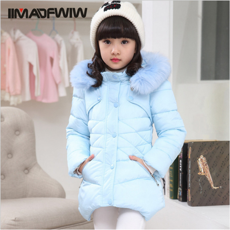 ФОТО 2016 winter new Girls Cotton-padded jacket wadded Outerwear Coats Down Parkas fashion thick big fur collar winter clothes