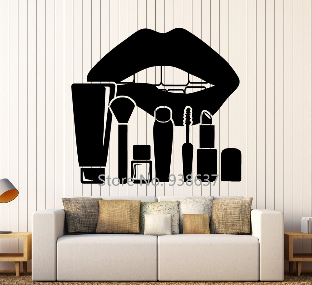 Removable vinyl wall decal lips makeup cosmetics stickers - Stickers deco salon ...