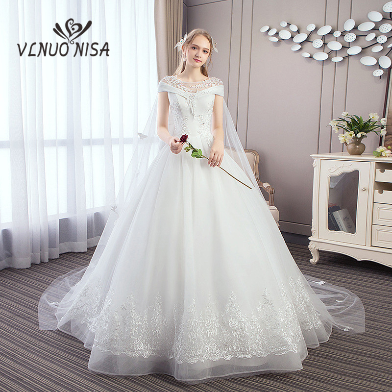 Detail Feedback Questions about Vestido De Noiva VLNUO NISA Luxury White  Lace Wedding Dress V Neck Beading Embroidered Butterfly Veil Long Train  Bridal Gown ... 09c0d82c8667