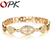 OPK Luxury Gold Color Chain Link Bracelet for Women Ladies Shining AAA Cubic Zircon Crystal Birthday Jewelry Gift KS484