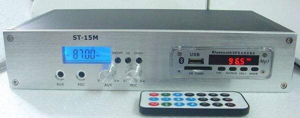 ST-15M 1.5 W/15 W FM émetteur de Radio de diffusion PLL 88-108 MHz avec haut-parleur Bluetooth lecteur MP3 fonction couverture 2 KM-4 KM