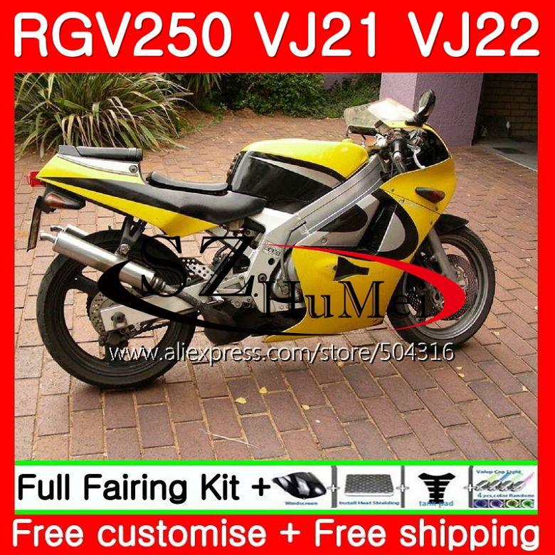 Bodys jaune brillant Pour SUZUKI VJ21 RGV250 88 89 90 91 92 93 101SH. 1 RGV-250 VJ22 RGV 250 1988 1989 1990 1991 1992 1993 Carénages