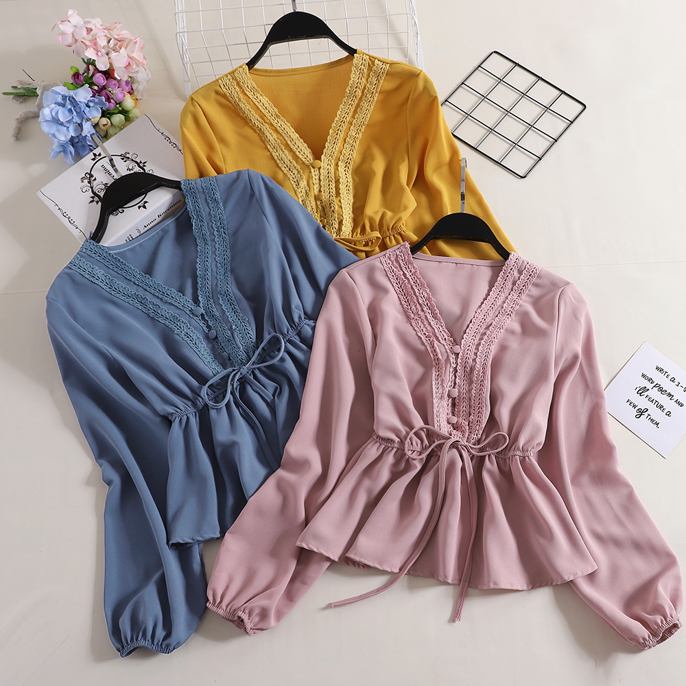 Brand Women Deep V-neck Lantern Sleeve Bandage Lace Up Bow Shirts Elegant Vintage Slim Waist Chiffon Pullover Button Blouse Tops To Produce An Effect Toward Clear Vision
