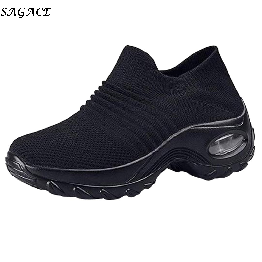 SAGACE Sneakers Women Mesh Breathable Flying Weaving Casual Shoes Woman Slip-on Thick Bottom Platform Sneakers Ladies Shoes #4Z