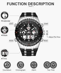 Image 3 - GOLDENHOUR גברים ספורט שעונים אנלוגי דיגיטלי תצוגה כפולה איש אופנה חיצוני צבאי שחור גומי שעוני יד זוהר שעון
