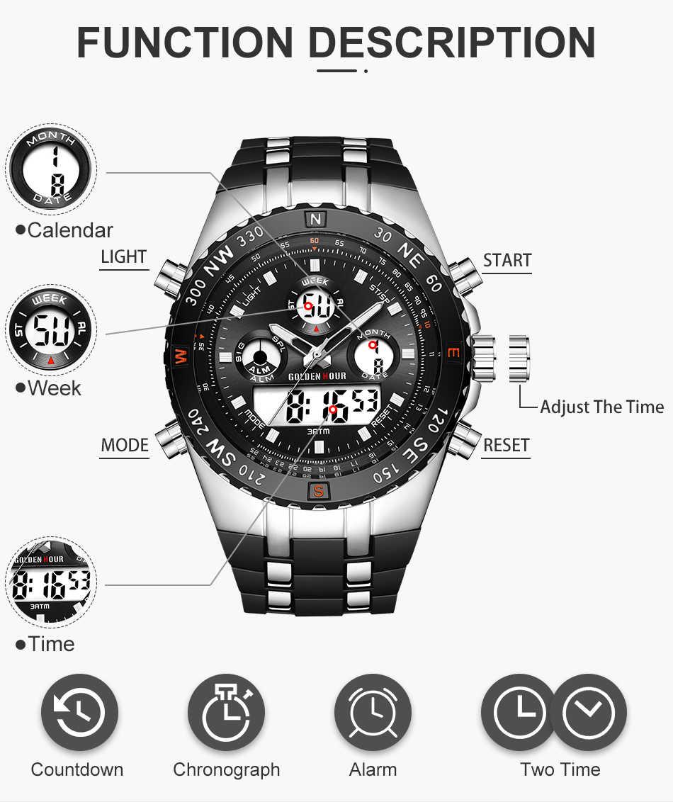GOLDENHOUR גברים ספורט שעונים אנלוגי דיגיטלי תצוגה כפולה איש אופנה חיצוני צבאי שחור גומי שעוני יד זוהר שעון