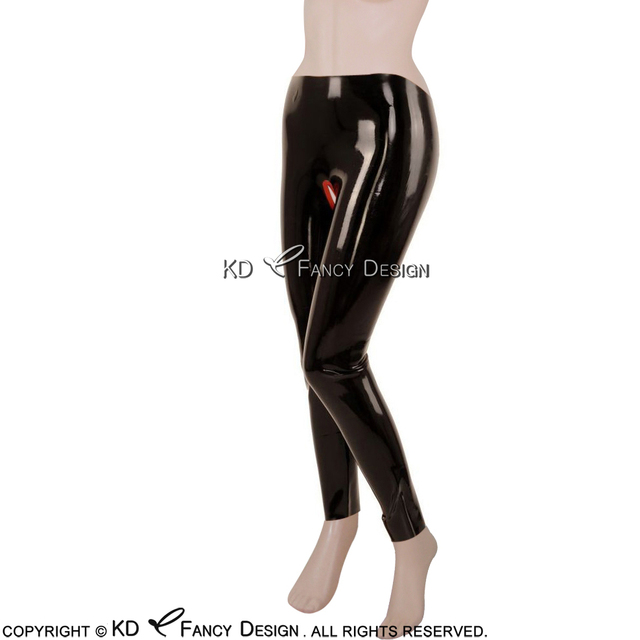 eef0f6efde411d Black With Red Trims Sexy Latex Leggings Crotchless Rubber Pants Jeans  Trousers Bottoms CK-0016