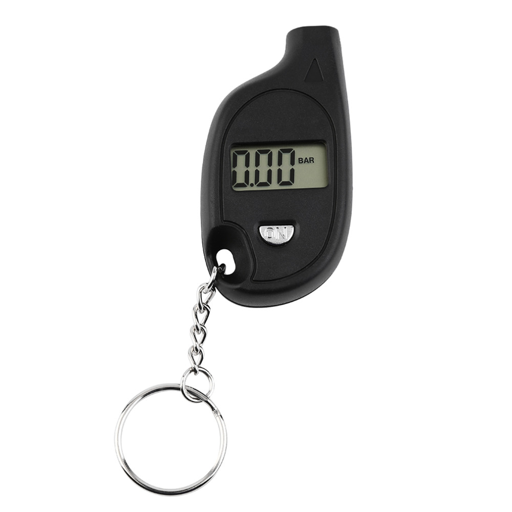 Wholesale 1pc Mini Keychain LCD Digital Car Tire Tyre Air Pressure Gauge Auto Motorcycle Test Tool with cell lithium battery