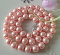 "Charming! Beautiful! 8mm Pink Ocean Sea Shell Pearl Necklace 18 ""lace jewelry free shipping ZH0166"