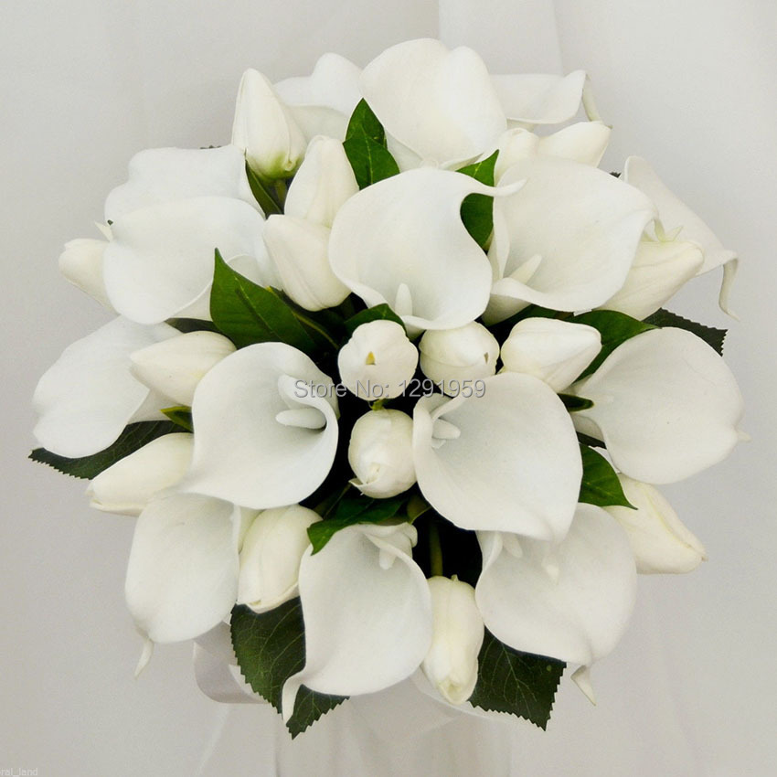 25cm 9 8 Diameter White Pu Tulip Calla Lily Green Leaves Decoration Satin Ribbon Handle Wedding Bridal Flower Bouquet In Artificial Dried Flowers From
