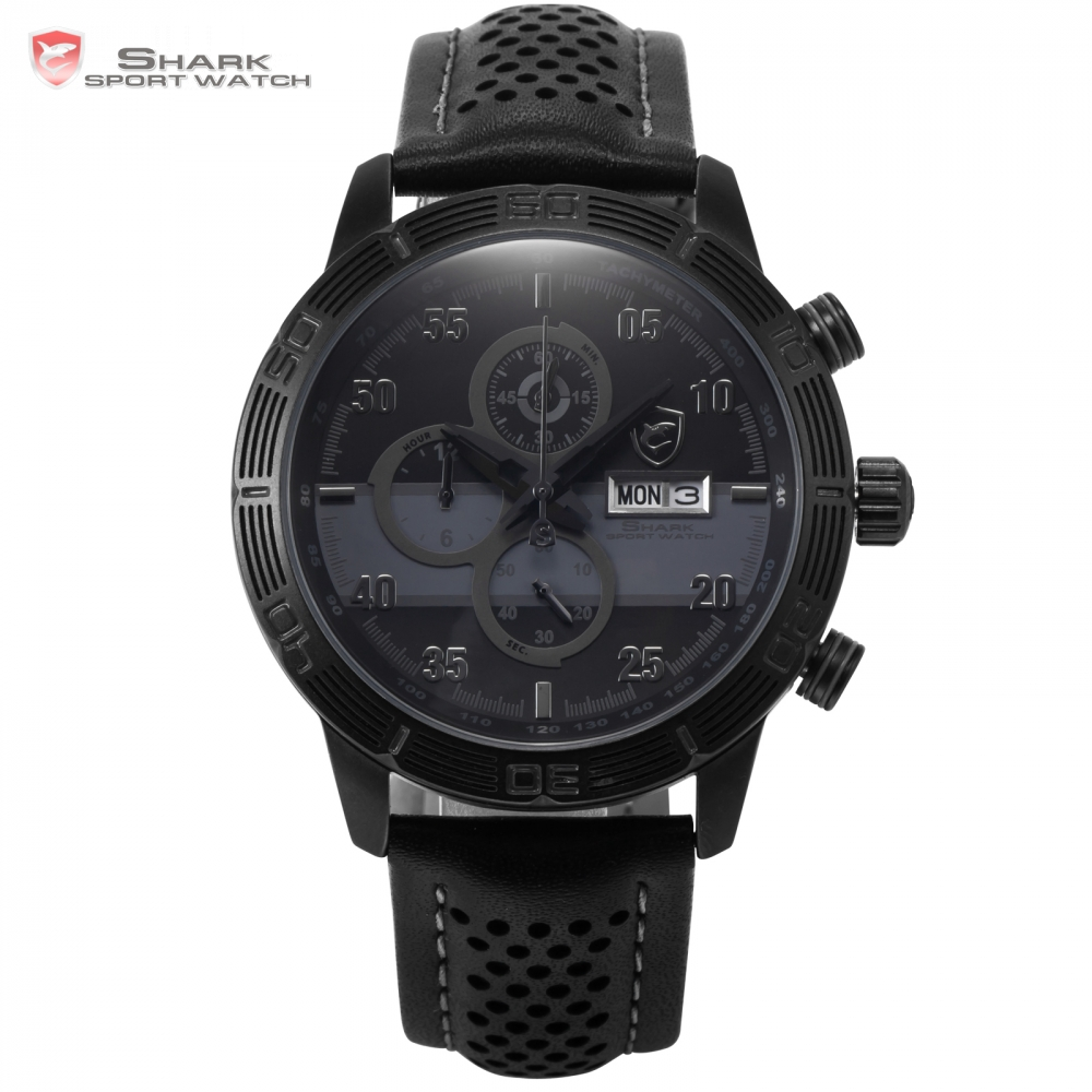 Striped Shark Sport Watch Auto Date Day Relogio Masculino Full Black Grey Dial Leather Band Waterproof Men's Wristwatch / SH334 snaggletooth shark sport watch lcd auto