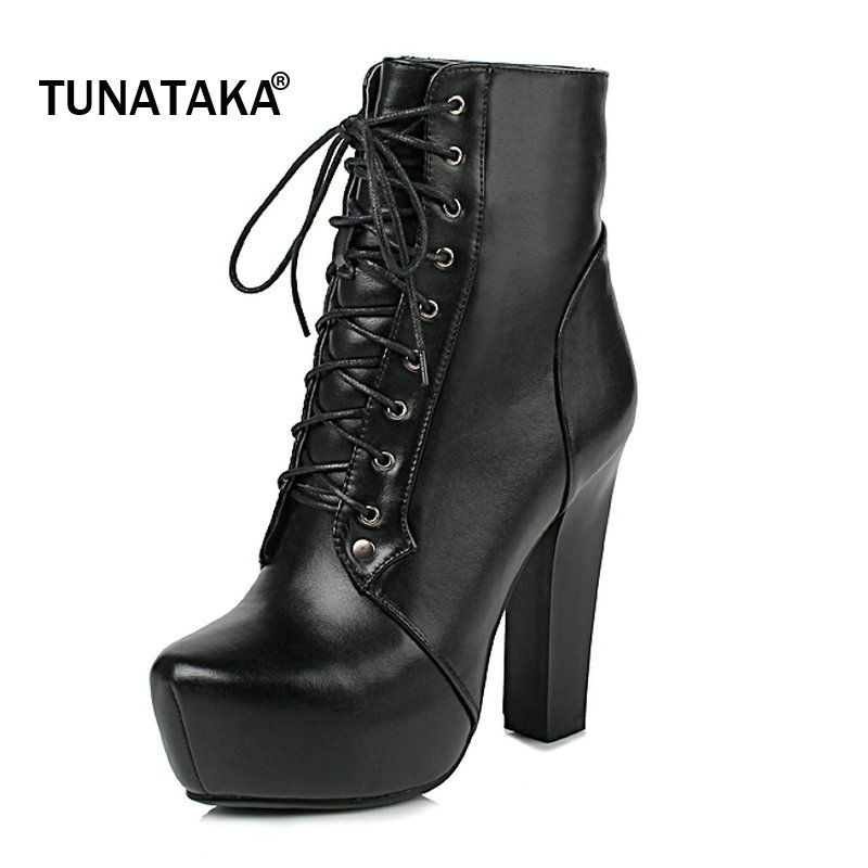Shoes Woman Genuine Leather Platform Square High Heel Lace Up Ankle Boots Fashion Round Toe Dress Winter Boots Black шуруповерт makita makita 6844