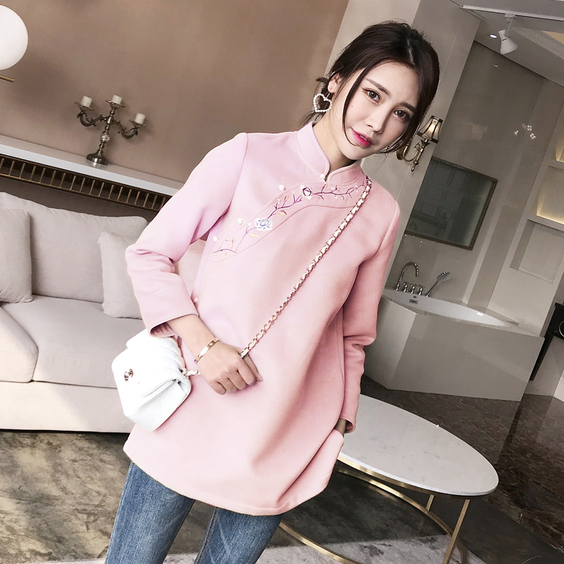 Embroidery Floral Women Elegant Long Sleeve Coat Chinese Style Mandarin Collar Jacket Thick Warm Traditional Tang