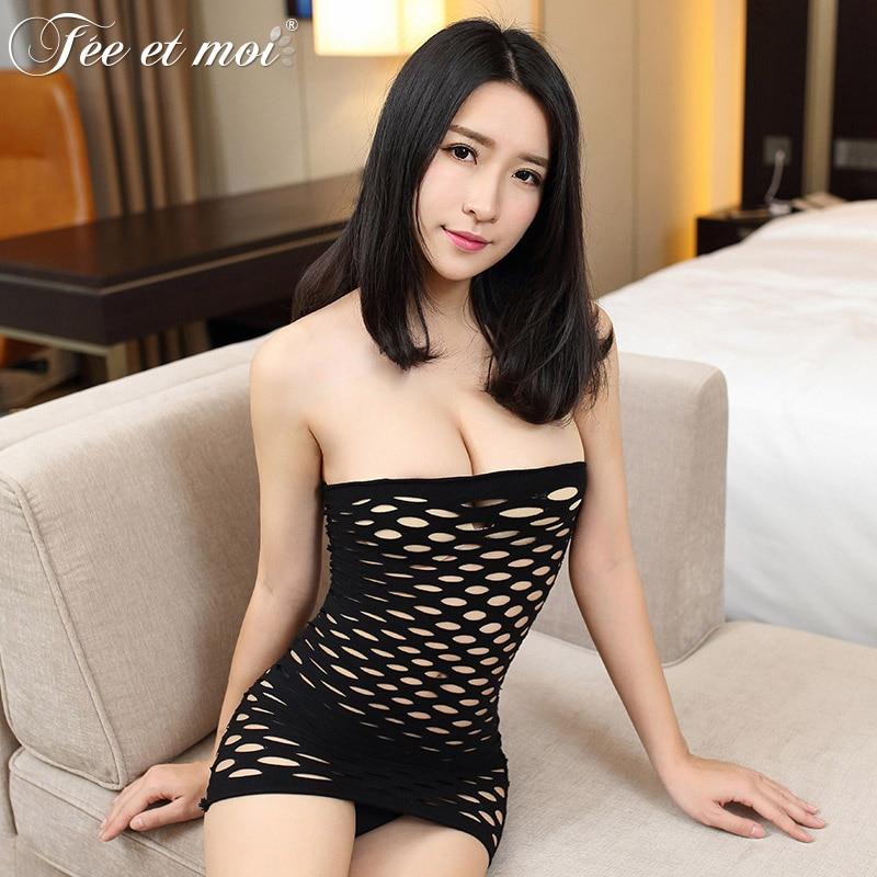Feeetmoi Babydoll Sexy Lingerie Women Hot Black Velvet -9629
