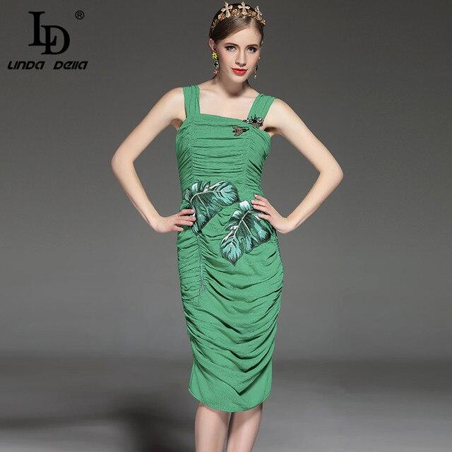 Новые 2017 Дизайнер Взлетно-Посадочной Полосы Dress женская Sexy Оболочка Bodycon Банановые Листья Вышивка Пчелы Бисероплетение Зеленый Раза Strap Dress