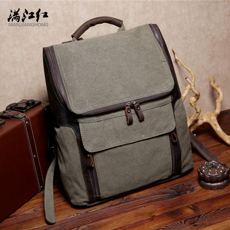ФОТО Manjianghong Canvas School Bag 15 Inches Laptop Backpack Bag Toile Coffee Mochila Bag 1528