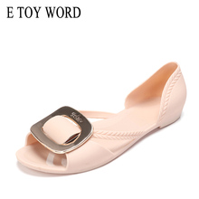 E TOY WORD womens summer sandals flat Metal buckle Slip-On women beach Jelly shoes fish mouth casual