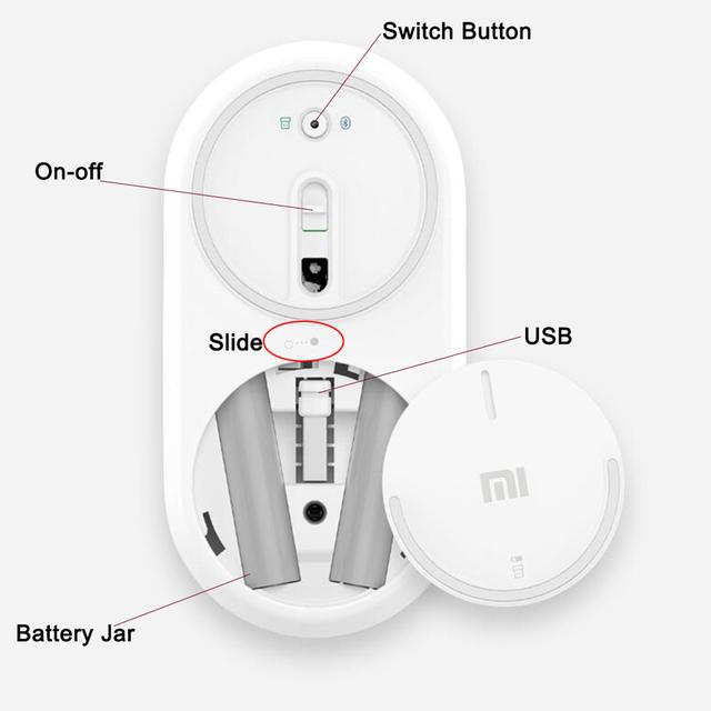 Original Xiaomi Mi Wireless Mouse Portable Game Mouses Aluminium Alloy ABS Material 2.4GHz WiFi Bluetooth 4.0 Control Connect