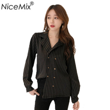 NiceMix 2019 Casual Loose Striped Blouse Women Vintage Office Blusas Tops Long Sleeve Femme