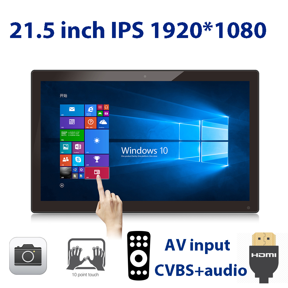 21.5 inch <font><b>10</b></font> point <font><b>touch</b></font> <font><b>screen</b></font> <font><b>monitor</b></font> ONLY (1920*1080 IPS, 100*100 VESA <font><b>HDMI</b></font> in, AV in, line out, 2M camera, Remote, USB) image
