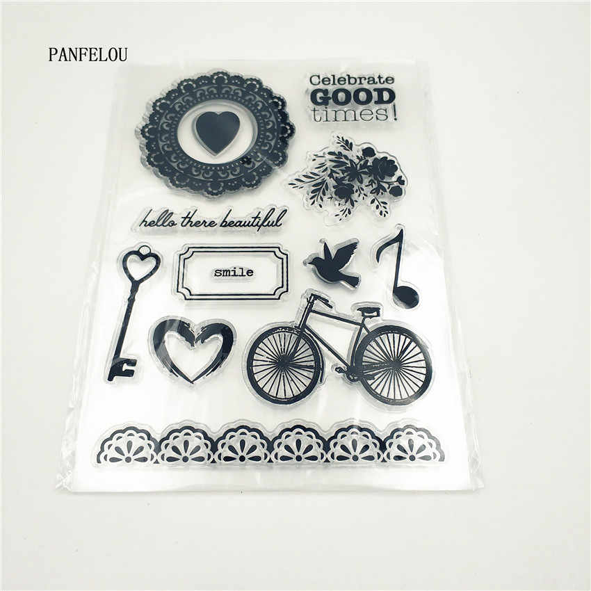 PANFELOU Parque bicicleta de Silicone Transparente Claro Carimbo/Selo scrapbooking DIY/álbum de fotos claro Decorativo folhas de carimbo