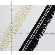 5yards/lot crochet Tassel Lace 5cm wide Fringed Trim Cotton accessory for sewing project Black&Cream Trimming
