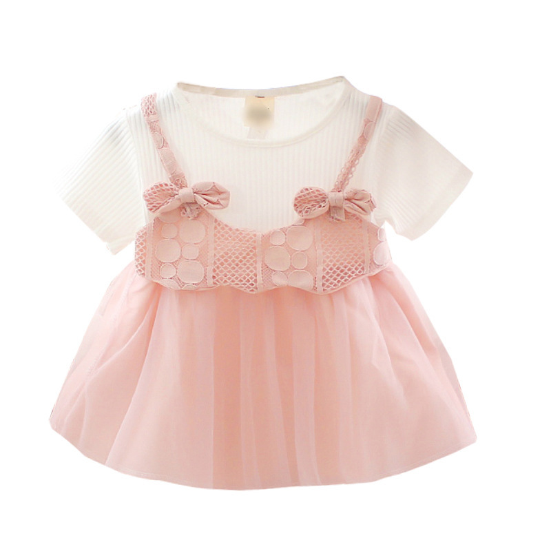 2019 Summer New Kid Clothes Girl Dress Casual Short Sleeves Flare Sleeve Print Girls Children Party Yarn