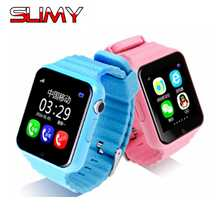 Pegajoso GPS Relógio Inteligente para Meninos Das Meninas Do Bebê V7K Smartwatch À Prova D' Água GPS Relógio com GPS Rastreador Inteligente Relógio Bebê Criança PK Q50 Q90