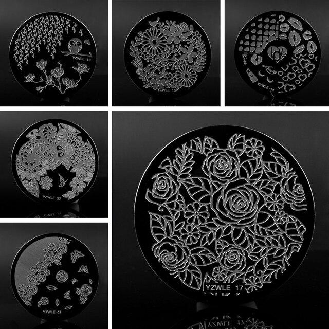 1 st 30 Ontwerpen Optionele Nagels Stempelen Plaat Kant Negatieve Ruimte Bladeren Bloemen Nail Art Sjabloon Tools Accessoires
