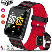 LIGE Smart Sport Watch Waterproof Watch TFT Color Screen Blood Pressure Heart Rate Monitor Pedometer Fitness Smart Wristband Box