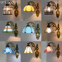 Artdad Modern Mediterranean Wall Lamp Led Colorful 12 Choice Beside Bedroom Vintage Indoor Wall Lamp With Iron Bracket Light