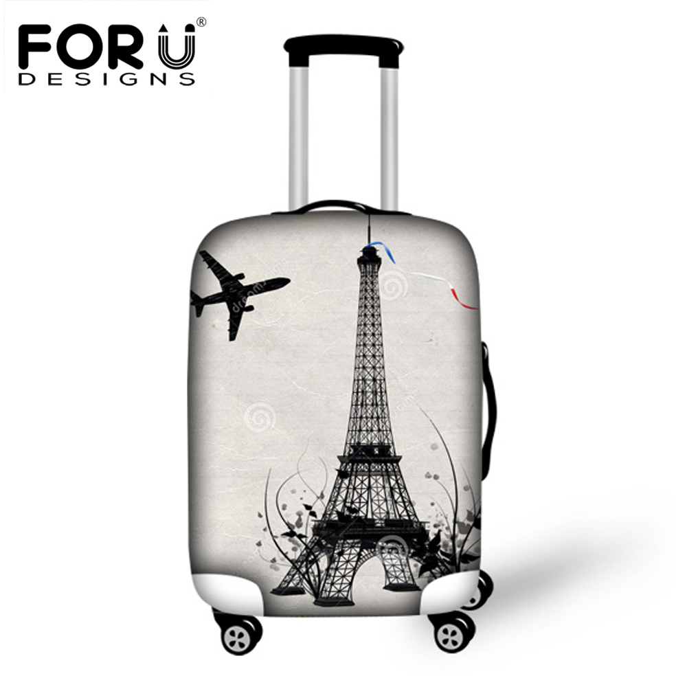 FORUDESIGNS 2019 Travel Luggage Protective Cover Waterproof Elastic Suitcase Covers For 18-30 Inch Case 3D Eiffel Tower Covers