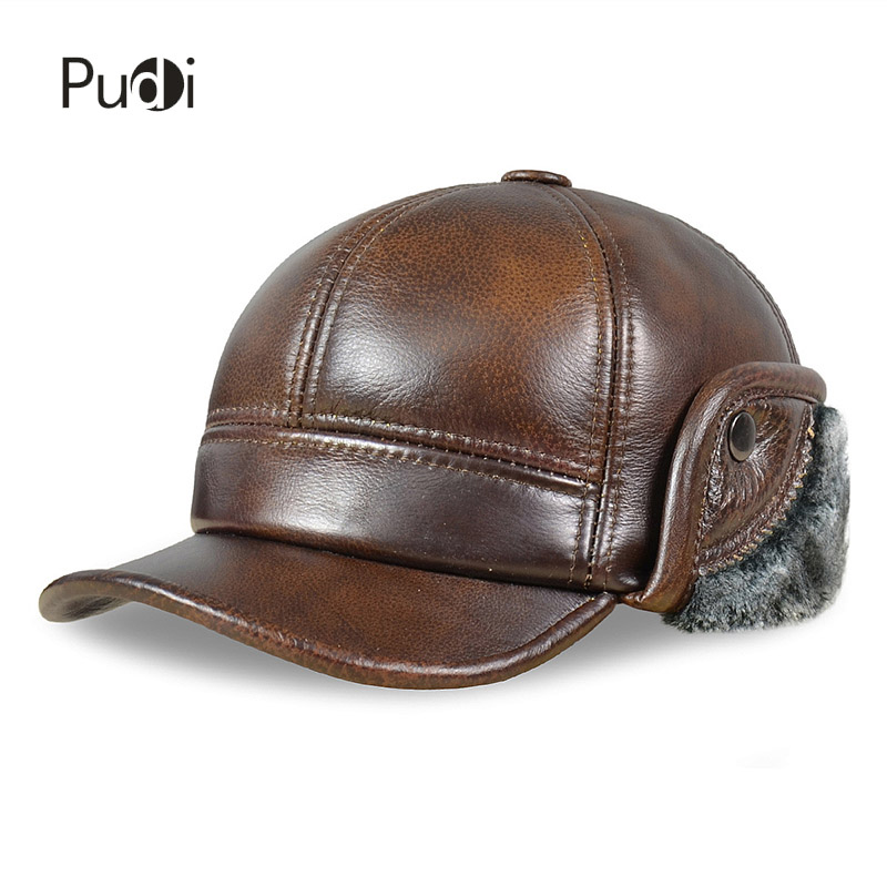 HL083 Men's Genuine Leather baseball caps hats Russian Winter snow Warm baseball Hat / Cap with Faux fur inside for old man hm039 real genuine mink hat winter russian men s warm caps whole piece mink fur hats