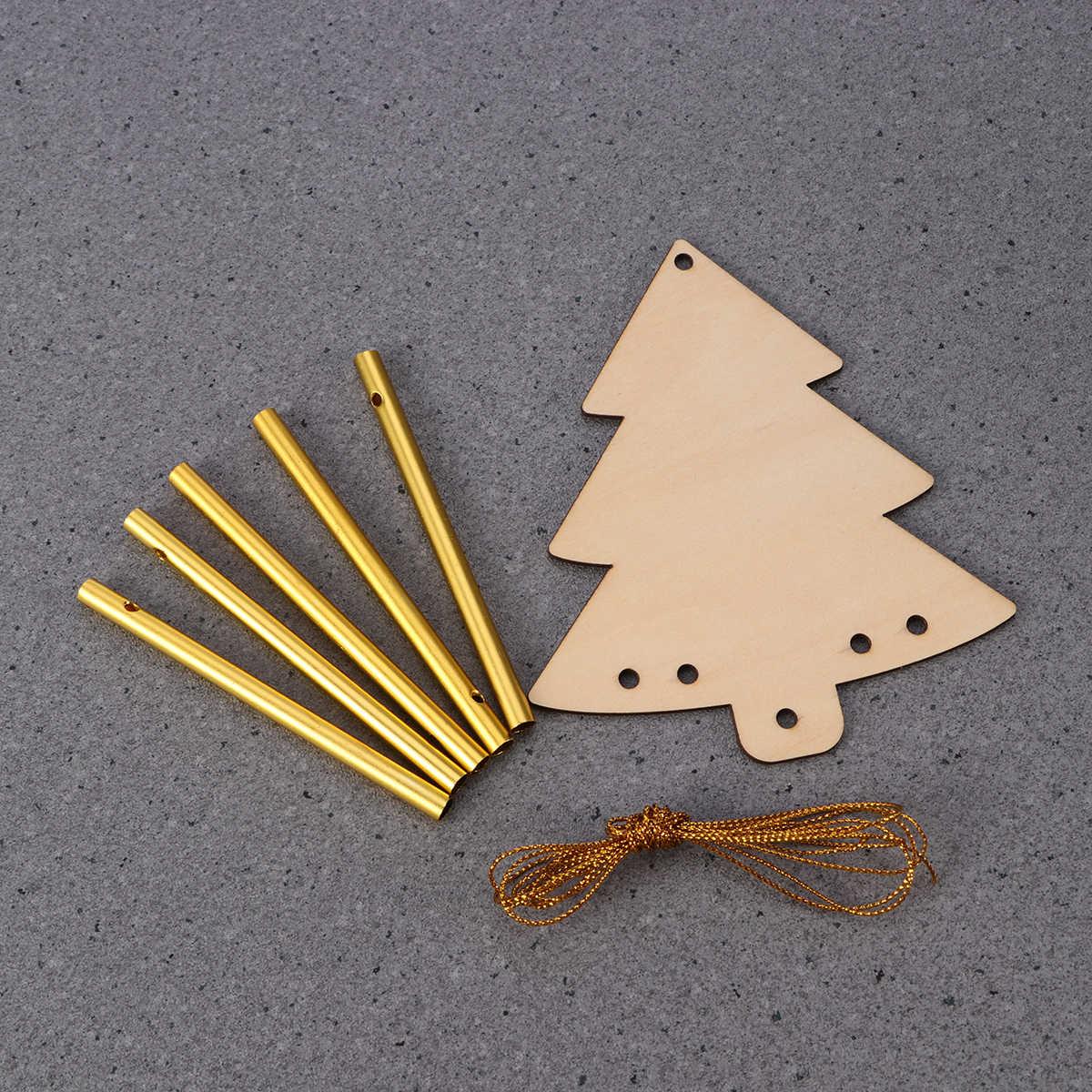 Рождественские украшения успокаивающие мелодичные тона колокольчики 5 полые металлические трубы Дерево DIY Windchime Сад Свадьба День Рождения Вечеринка